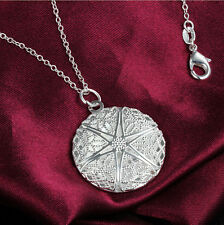 Chain necklace beauty Silver Hollow Round LOVE Locket photo jewlery