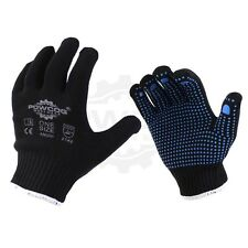 1 x Pair Nylon Safety Gripper Work Gloves | BLUE PVC Polka Dots | PPE Warehouse