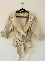 Coast Champagne Gold 100% Silk Wrap Blouse Top Occasion Ruffle Sleeve Sz 12 0322