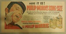 "Phillip Morris Cigarette Ad: ""New King Size"" 1930's - 1950's 7.5 x 15 inches"