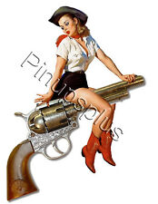 Pinup Girl Waterslide Decal Sticker Cowgirl riding old West style Pistol S526