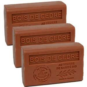 3 x 125g Bars - Cedarwood Scented French Soap with Organic Shea Butter