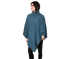 Ladies Poncho + Gloves Mittens Womens Outdoor Cape Black One Size Acrylic