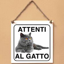 British Shorthair 2 Attenti al gatto Targa gatto cartello ceramic tiles