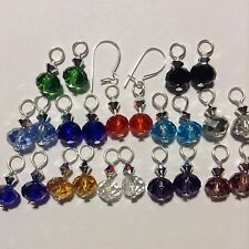 12Pairs Crystal earring charms 2 Sterling Silver Interchangeable Kidney Ear Wire