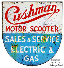 Cushman Motor Scooter Laser Cut Out Reproduction Metal Sign 18x19