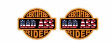 Certified U.S. USA Bad Ass Rider Sticker Motorcycle Harley Davidson Honda Suzuki