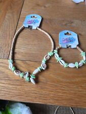 Surf Girls Sea Shell Wood Bead Ankle Surf Bracelet And Necklace Set Hand Made