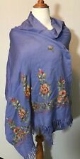 Embroidered  Pashmina Shawl/Scarf 25 X 60 Inches Flowers Floral Embroidery