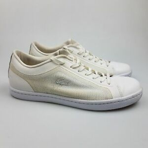 Women's LACOSTE 'Straightset 116' Sz 8 US Shoes White Leather| 3+ Extra 10% Off