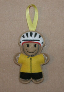 Cyclist (Yellow) Gingerbread Felt Embroidered decoration/ornament