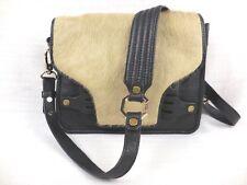 Ella Moss Women's Handbag Black Leather Beige Calf Hair Cross Body Shoulder Bag