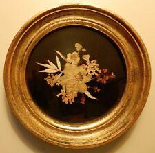 Charming Antique, Pressed Flower Arrangement in a Gilded Wood & Glass Frame