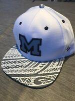 Michigan Wolverines UM Zephyr NCAA Snapback Cap Hat White FlatBill Flat Bill