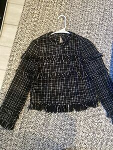 ZARA Women's Black White Tweed Fringe Long Sleeve Crop Fit Raw Hem Top XS