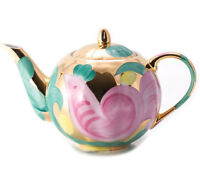 25 fl oz Brewing Teapot Dulyovo Porcelain Made in Russia w/ Pink Bird Artwork