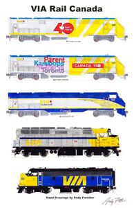 """VIA Rail Locomotives 11""""x17"""" Poster by Andy Fletcher signed"""
