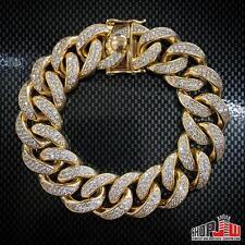 Huge Custom Simulated Diamond Cuban Link Chain Bracelet 20mm 14K Gold Over .925