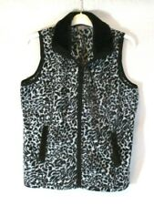 Sport Savvy Fleece Vest Animal Print Sz Medium Zip Black White Womens GG516