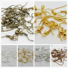 Free Ship 100Pcs Ear Coil Wire Metal Earring Hooks Finding 6 Color