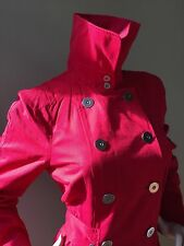 Millard Fillmore Womens Red Trench Coat Size S