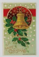 Postcard Happy Christmas Holly Leaves Bell 1912