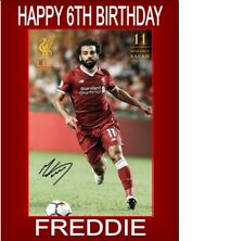 PERSONALISED MOHAMED SALAH A5 BIRTHDAY CARD ANY NAME AGE GREETING