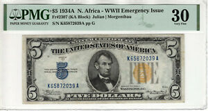 1934 A $5 SILVER CERTIFICATE NOTE NORTH AFRICA FR.2307 KA BLOCK PMG VF 30(039A)