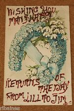 Vintage Postcard: Wishing you Happy Birthday, Horseshoe of Flowers, Snowdrops