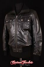 Men's HORNET Black AVIATOR Designer Bomber Pilot Real Lambskin Leather Jacket