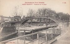 Antique POSTCARD c1910-20s Footbridge over Canal SAINT-MANSUY, FRANCE
