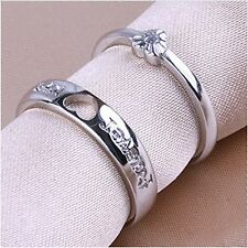 2 pc Sterling Silver Plated Love Heart Adjustable Rings UK SELLER