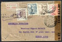 SPAIN TO ARGENTINA Air Mail Registered Censored Cover 1944, VF