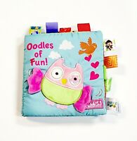 JJOVCE Soft Cloth Book For Baby 0-12 Month Crinkle W/ Tabs Educational - Owl