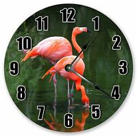 "10.5"" PINK FLAMINGOS WADING CLOCK Large 10.5"" Wall Clock Home Décor Clock - 3152"