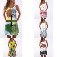 Casual Womens Summer Vintage Sleeveless Floral Print Bohe Tank Short Mini Dress