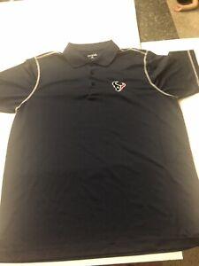 Houston Texans NFL Navy Blue Mens Antigua Polo Shirt Size L Pre Owned