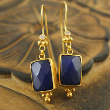 Handmade Ancient Rectangle Sapphire Earrings W/Topaz Gold Over Sterling Silver