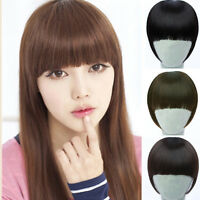 Fashion Women Girls Clip On Front Straight Hair Neat Bang Fringe Hair Extension