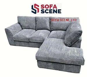 Jumbo Cord High Back Cushions Corner Sofa Suite Set Footstool 3 2 Seater Grey UK