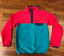 Patagonia Girls Synchilla  Pullover Pink Teal Size 14 XL