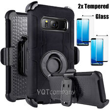 For Samsung Galaxy S8 PLUS Shockproof Case Cover Clip Holster + 2 Tempered Glass