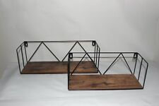 2 pcs Floating Wall Shelves, Black Metal Wire Hanging Rustic Storage Decor NEW