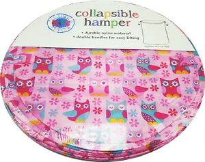 Girls Owl Pink Toy Storage Bin Laundry Hamper Collapsible New