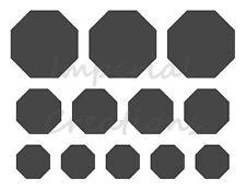 "OCTAGON Shape 3 Different Sizes 8.5"" x 11"" Stencil Plastic Sheet NEW S11"