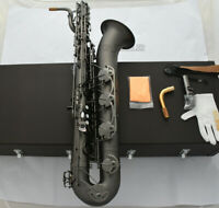 NEW pro.Matt Black nickel Baritone Saxophone Sax Low A With Case