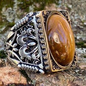 925K Sterling Silver Tiger Eye Men's Large Ring -USA- I1P Gift for Him