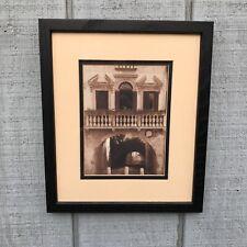 "Framed Sepia Photo Print Framed Art Print w Triptych Doors Balcony 13"" X 11"""