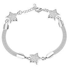 Star Bracelet Bangle 3 Three Stars Silver Dangle Cute Discrete Bling