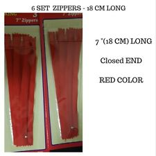 6 PCs of Red Zip - Zippers - 18 CM Long - Closed End - Quality Zip  Sewing Needs